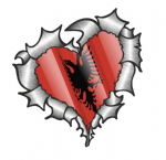 Ripped Torn Metal Heart with Waving Albania Albanian Country Flag Motif External Car Sticker 105x100mm